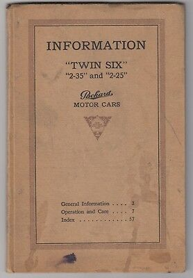 Packard Motor Cars c1916 Information Operation & Care Twin Six 2-35 & 2-25
