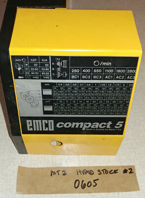 Emco Compact 5 Manual Lathe Head Stock MT2 Spindle #2  0605