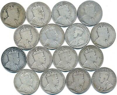 16 Old Silver Fifty 50 Cent's Canada 1906-1913
