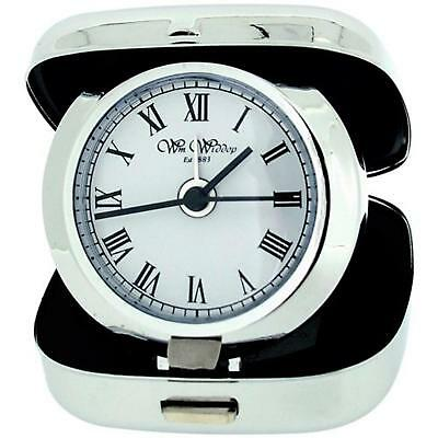 W M Widdop Unisex Small Silver Chrome White Dial Compact Travel Alarm Clock 9818