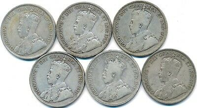 6 Old Silver Fifty 50 Cent's Canada 1929-1936