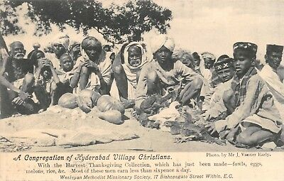 India Ethnic 'congregation Of Hyderabad Village Christians' Missionary Card