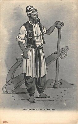 India Ethnic The Inland Steamer 'serang' Native Man Holds Large Anchor Art Card