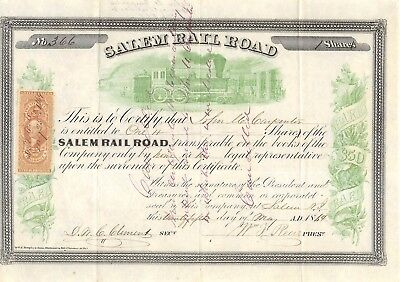 Salem Railroad of NJ 1864 Civil War Era Stock Certificate w/ R46b Revenue Stamp