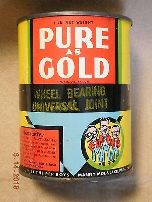 Vintage 1 Pound PEP BOYS Pure As Gold Wheel Bearing Universal Joint Grease Can