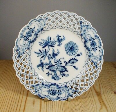 Meissen Blue Onion Reticulated Pierced Plate (af)