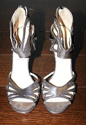 JIMMY CHOO Silver Python Embossed Sandals Heels with Dustbag & Box- 37.5