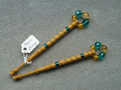 Pair Mulberry Wood Lace Bobbins