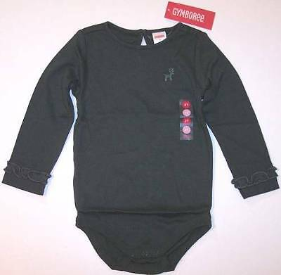 NWT Gymboree Girl's Forest Green Reindeer Bodysuit Top, Mountain Cabin, 18-24M