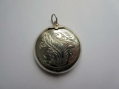 VINTAGE SOLID SILVER MINIATURE COMPACT FOR CHATELAINE, NECKLACE - 13.7g!