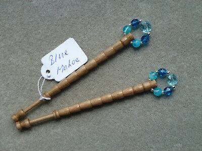 Lacemaking Lace Bobbins Pair Blue Mahoe Wood