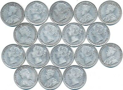 17 Old Silver Twenty 20 Cent Coins From Newfoundland Canada 1882-1912