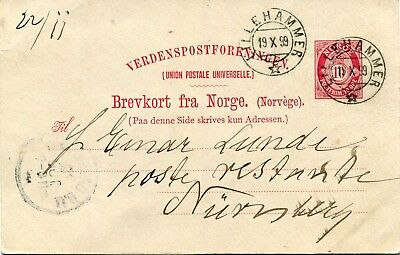 1899 - Norway - Local Stationery Card From Lillehammer