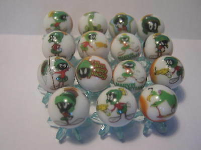 Marvin The Martian Looney Tunes GLASS MARBLES 5/8 SIZE collection lot + STANDS