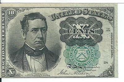 5th Issue Green Seal Ten Cents United States Fractional Long Key FR1264 CU