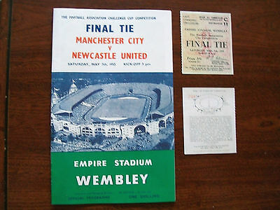 1955 F A Cup final programme & Ticket Manchester City v Newcastle United Mint..