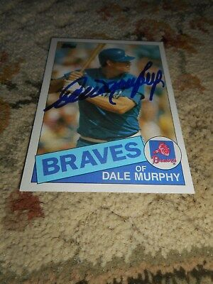 Dale Murphy Signed Baseball Card Topps 1985 Sports Autograph Braves Vintage