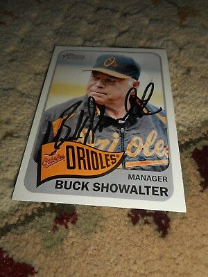 Buck Showalter Signed Baseball Card Baltimore Orioles Autograph Topps Heritage