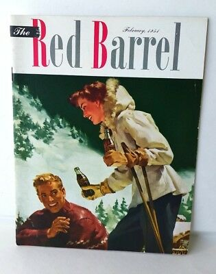 Feb.1954 The Red Barrel, Drink Coca Cola Magazine. Couple Skiing. Motion Picture