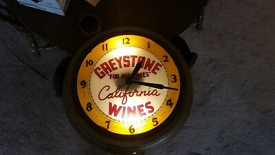 Vintage Advertising Clock GREYSTONE WINERY OF CALIFORNIA