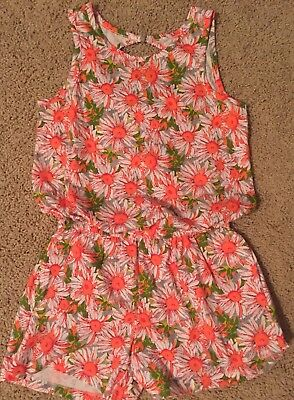 NWT Gap Kids Girls Large 10 H-back Romper Shorts Daisies Flowers Floral