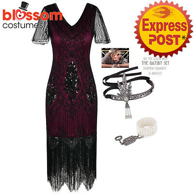 K621 Deluxe Red Ladies 1920s Roaring 20s Flapper Costume Sequins Gatsby Dress Up