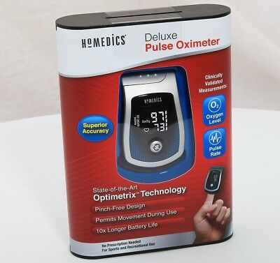 New HoMedics Deluxe Pulse Oximeter PX100B Pulse Rate & Blood Oxygen Level Meter