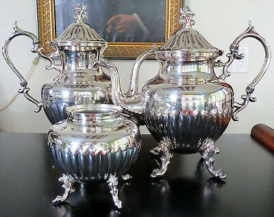 Vintage Silver Plate Over Copper Birmingham Silver Co Coffee Tea Service Set