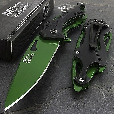 "8.25"" MTECH USA GREEN SPRING ASSISTED TACTICAL FOLDING POCKET KNIFE Open Assist"