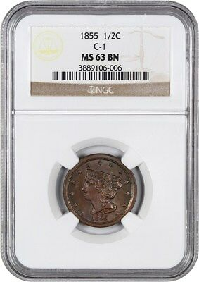 1855 1/2c NGC MS63 BN (C-1) Great Type Coin - Half Cent - Great Type Coin