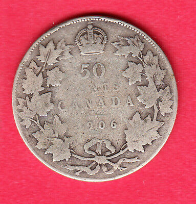 1906 Canadain Silver 50 Cent ~ About-Good Condition!