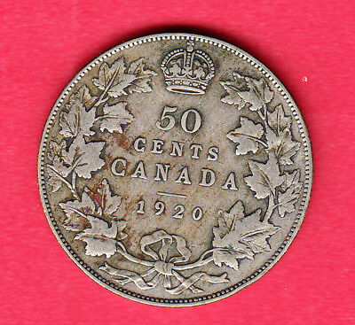 1920 Canadain Silver 50 Cent ~ Very-Good Condition!