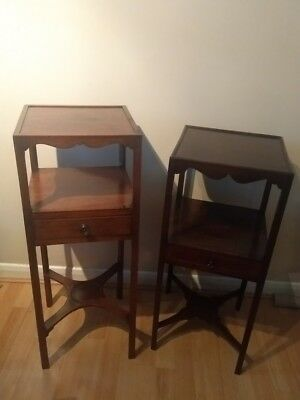 (Mis)Matched pair of George III mahogany bedside tables night stands