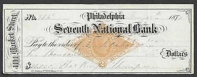 1872 Philadelphia Bank Check RN-G1