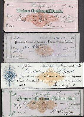 4 Philadelphia Bank Checks 1873-1880