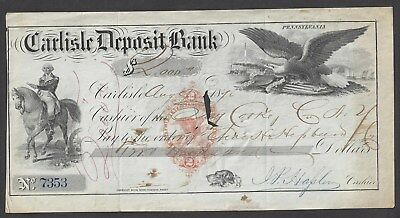 "1870 Carlisle Pennsylvania Bank Check RN-H3 ""Washington"""