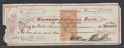 1875 Philadelphia Bank Check RN-E4(ERROR)