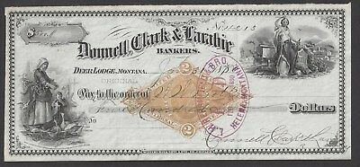 "1880 Deer Lodge Montana Territory Bank Draft ""Maids"""