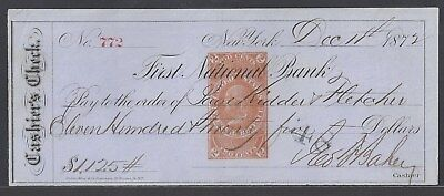 1872 New York City Bank Check RN-E4