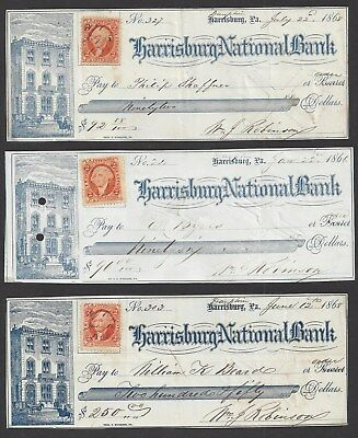 "3 Harrisburg Bank Checks Pennsylvania ""Bank"" 1866-1868"