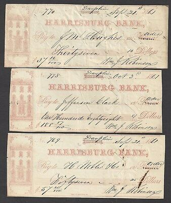 "3 Harrisburg Bank Checks Pennsylvania ""Bank"" 1861"