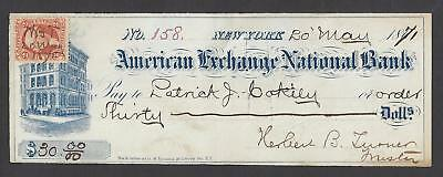 1871 New York American Exchange Bank Check
