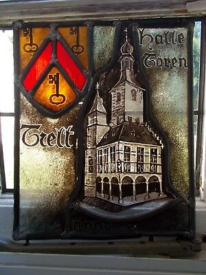 Vintage~Antique Leaded Stained Glass Window Panel~Medieval Church & Coat Of Arms