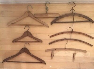Lot of 8 Vintage Antique Wooden Clothes Hangers Solid Wood Shirt Pants Coat