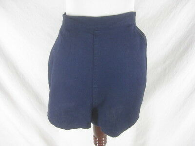 Vtg 50s 60s Blue Womens Vintage High Wasted Side Tie Cotton Shorts W 29