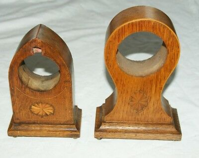 2 x Antique/Vintage Inlaid Oak Clock Cases - Balloon & Dome Shaped