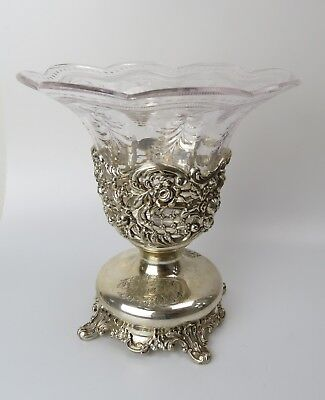Black Starr Frost Sterling silver 25th 1852 1884 Glass pierced floral vase
