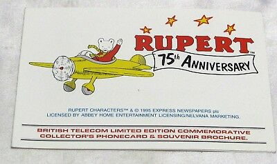 Rupert Bear 75Th Anniversary Card With Bt Phone Card, Mint Condition
