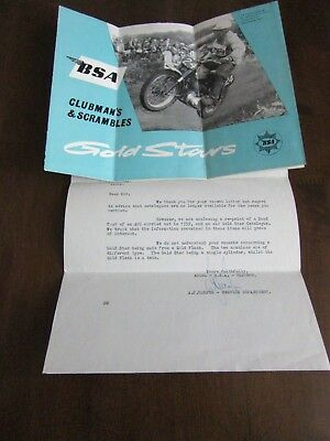 Bsa Sales Literature Clubmans & Scrambles With Letter From Bsa 1966