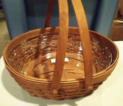 Longaberger Oval Roaster Basket combo RICH brown stain mint condition never used